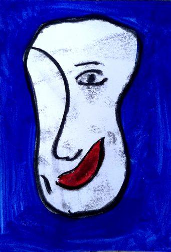 1 - Peuchère - Acrylique et fusain sur papier dessin - Format 21X30 cm. - 50 €