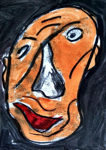 7 - Peuchère - Acrylique et fusain sur papier dessin - Format 21X30 cm. - 50 €