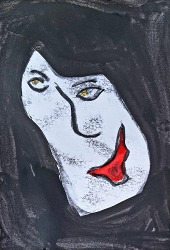 9 - Peuchère - Acrylique et fusain sur papier dessin - Format 21X30 cm. - 50 €