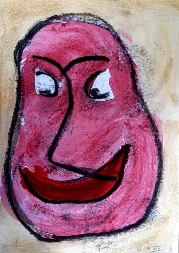 14 - Peuchère - Acrylique et fusain sur papier dessin - Format 21X30 cm. - 50 €