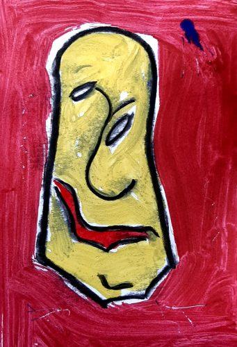 15 - Peuchère - Acrylique et fusain sur papier dessin - Format 21X30 cm. - 50 €