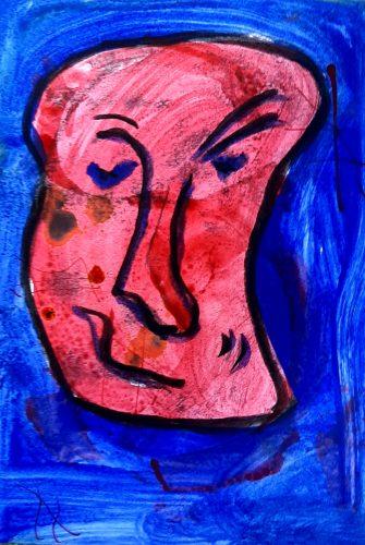 16 - Peuchère - Acrylique et fusain sur papier dessin - Format 21X30 cm. - 50 €
