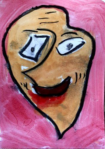 17 - Peuchère - Acrylique et fusain et fusain sur papier dessin - Format 21X30 cm. - 50 €