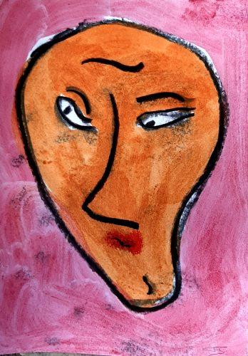 18 - Peuchère - Acrylique et fusain sur papier dessin - Format 21X30 cm. - 50 €
