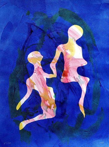 21 - Délectatio Morosa - Acrylique sur papier dessin - format 65 X 50 cm. 50 €