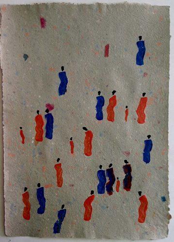 21 - Kekere Ohun Kiko - Acrylique sur papier recyclé artisanal - Dim. 45 X 32 cm. - 30 €