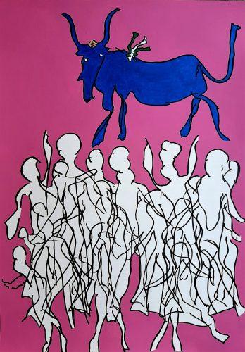 222 - Acrylique sur papier dessin - Format 70 X 50 cm. - 250 €