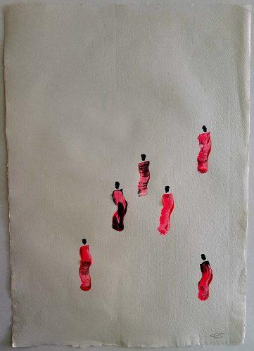 23 - Kekere Ohun Kiko - Acrylique sur papier recyclé artisanal - Dim. 45 X 32 cm. - 30 €