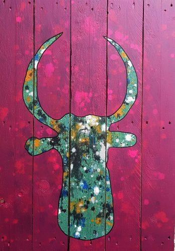 230 - Acrylique sur lames de bois de palette - Format 104 X 72 cm. - 200 €