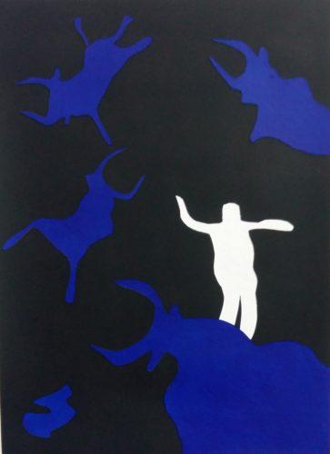 240 - Acrylique sur papier dessin découpé et collé - Format 70 X 50 cm. - Collection privée