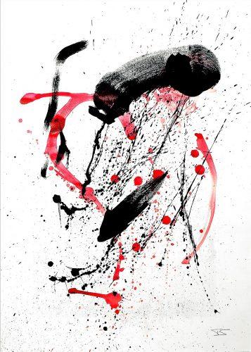 243 - Acrylique sur papier de macule d'impression - Format 70 X 50 cm. - 250 €