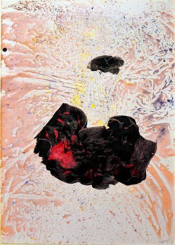 245 - Acrylique sur papier de macule d'impression - Format 70 X 50 cm. - 250 €