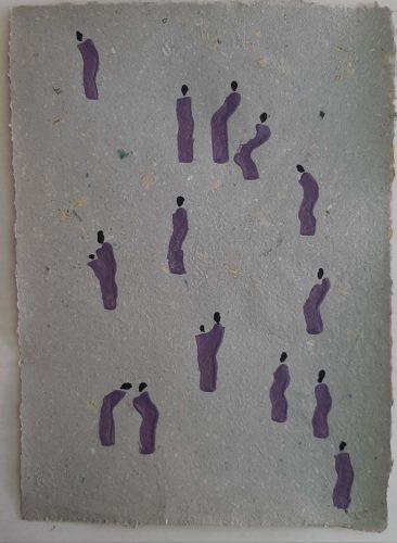 25 - Kekere Ohun Kiko - Acrylique sur papier recyclé artisanal - Dim. 45 X 32 cm. - 30 €