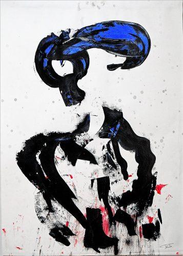 250 - Acrylique sur papier de macule d'impression - Format 70 X 50 cm. - 250 €