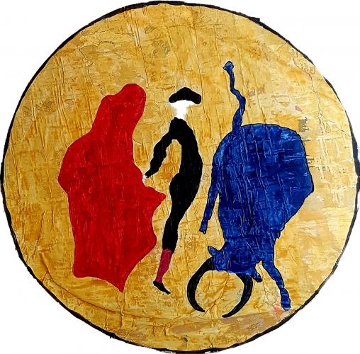 259 - Acrylique revers d'affichage public et marouflé sur isorel - Format diam. 70 cm. - 100 €