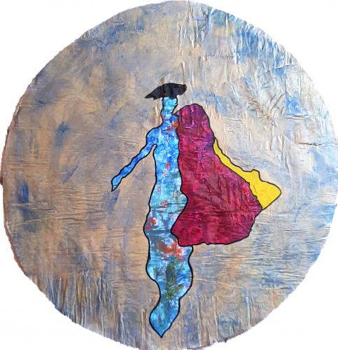 260 - Acrylique revers d'affichage public et marouflé sur isorel - Format diam. 70 cm. - 100 €