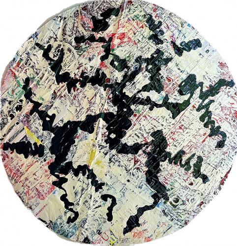 261 - Acrylique sur revers d'affichage urbain marouflé sur isorel - Format diam. 94 cm. - 250 €
