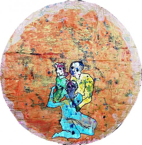 262 - Acrylique sur revers d'affichage urbain marouflé sur isorel - Format diam. 94 cm. - 250 €