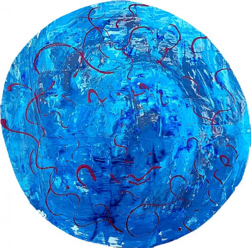 263 - Acrylique sur revers d'affichage urbain marouflé sur isorel - Format diam. 70 cm. - 100 €