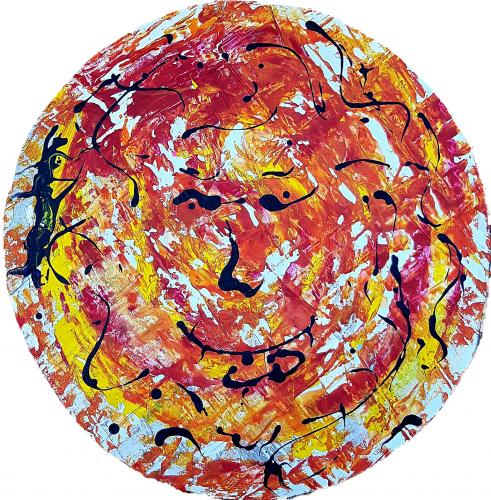 264 - Acrylique sur revers d'affichage urbain marouflé sur isorel - Format diam. 70 cm. - 100 €