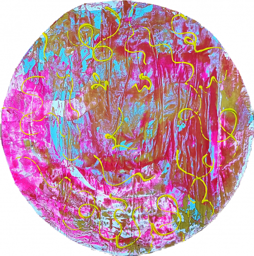 265 - Acrylique sur revers d'affichage urbain marouflé sur isorel - Format diam. 70 cm. - 100 €