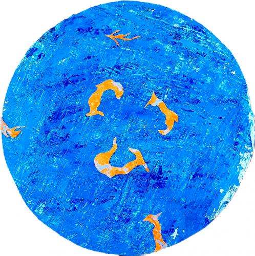 266 - Acrylique sur papier découpé et collé sur revers d'affichage urbain marouflé sur isorel - Format diam. 70 cm. - 100 €