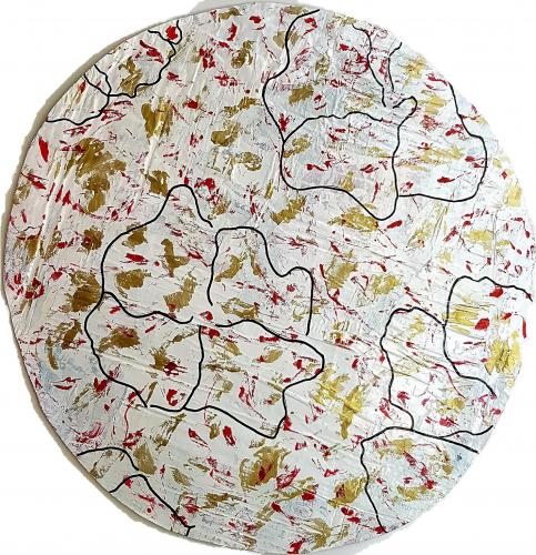 267 - Acrylique sur revers d'affichage urbain marouflé sur isorel - Format diam. 70 cm. - 100 €
