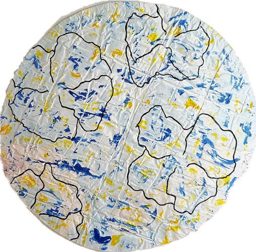 268 - Acrylique sur revers d'affichage urbain marouflé sur isorel - Format diam. 70 cm. - 100 €
