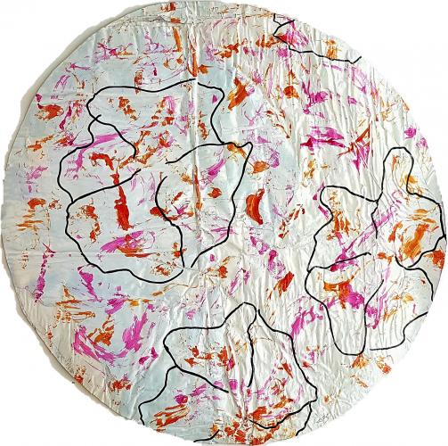 269 - Acrylique sur revers d'affichage urbain marouflé sur isorel - Format diam. 70 cm. - Collection privé