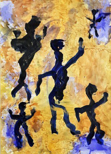 27 - Acrylique sur papier de macule d'impression - Format 70 X 50 cm. - Collection privée