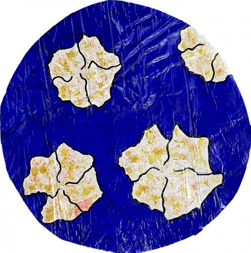 270 - Acrylique sur revers d'affichage urbain marouflé sur isorel - Format diam. 45 cm. - Collection privée