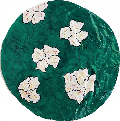 272 - Acrylique sur revers d'affichage urbain marouflé sur isorel - Format diam. 45 cm. - 80 €