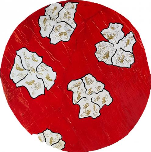 274 - Acrylique sur revers d'affichage urbain marouflé sur isorel - Format diam. 45 cm. - Collection privée