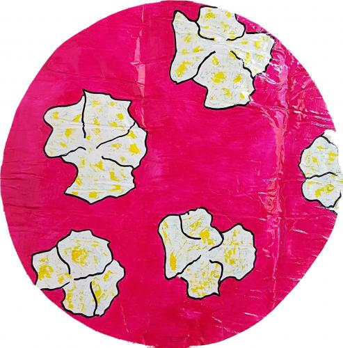 275 - Acrylique sur revers d'affichage urbain marouflé sur isorel - Format diam. 45 cm. - Collection privée