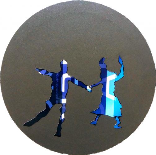 277 - Autocollant industriel découpé et collé sur acrylique sur toile - Format diam. 40 cm. - Collection privée