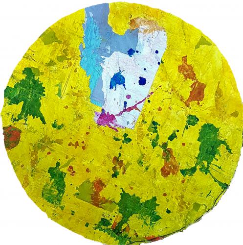 278 - Acrylique sur revers d'affichage urbain marouflé sur isorel - Format diam. 94 cm. - Collection privé
