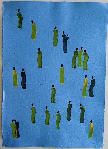 28 - Kekere Ohun Kiko - Acrylique sur papier recyclé artisanal - Dim. 45 X 32 cm. - 30 €