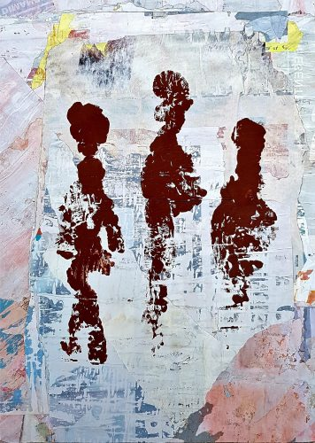 289 - Acrylique sur revers d'affichage urbain - Format 70 X 50 cm. - 250 €