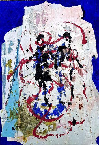 292 - Acrylique sur revers d'affichage urbain - Format 70 X 50 cm. - 250 €