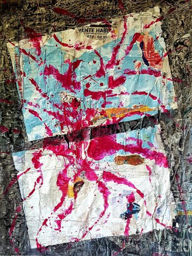 294 - Acrylique sur revers d'affichage urbain - Format 100 X 70 cm. - 400 €