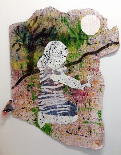 298 - Acrylique sur papier découpé et collé sur revers d'affichage urbain - Format 130 X 110 cm. - 600 €