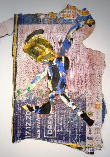 299 - Acrylique sur papier découpé et collé sur revers d'affichage urbain - Format 140 X 92 cm. - 600 €