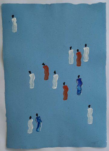 3 - Kekere Ohun Kiko - Acrylique sur papier recyclé artisanal - Dim. 45 X 32 cm. - 30 €