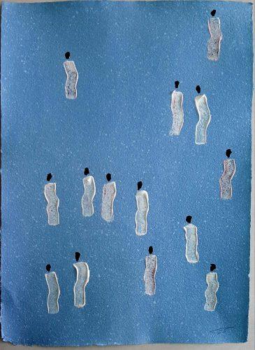 30 - Kekere Ohun Kiko - Acrylique sur papier recyclé artisanal - Dim. 45 X 32 cm. - 30 €