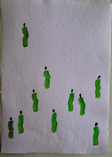 31 - Kekere Ohun Kiko - Acrylique sur papier recyclé artisanal - Dim. 45 X 32 cm. - 30 €