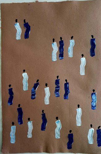 33 - Kekere Ohun Kiko - Acrylique sur papier recyclé artisanal - Dim. 45 X 32 cm. - 30 €