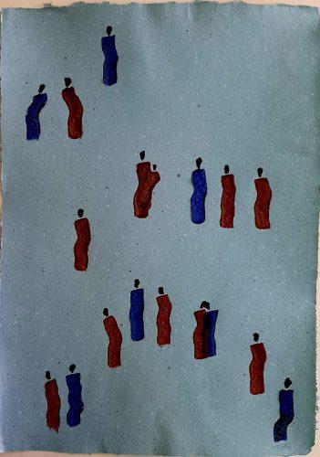 34 - Kekere Ohun Kiko - Acrylique sur papier recyclé artisanal - Dim. 45 X 32 cm. - 30 €
