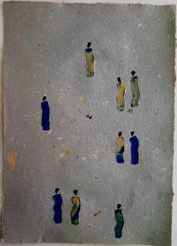 35 - Kekere Ohun Kiko - Acrylique sur papier recyclé artisanal - Dim. 45 X 32 cm. - 30 €
