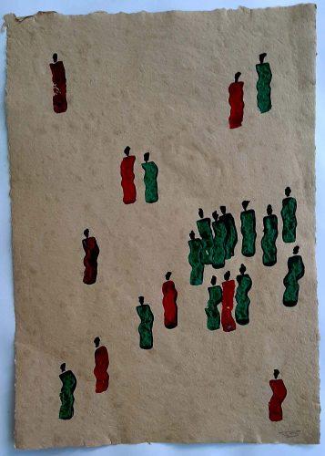 4 - Kekere Ohun Kiko - Acrylique sur papier recyclé artisanal - Dim. 45 X 32 cm. - 30 €