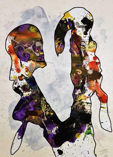 Acrylique sur papier de macule d'impression - Format 70x50cm - 250€